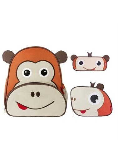 Zoozy Maymun Çanta Seti (Sırt Çanta-Beslenme Çantası-Kalemlik) Renkli